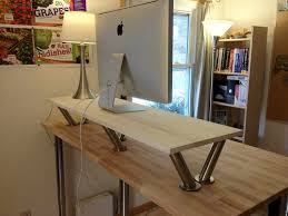 Diy Wood Computer Desk by Diy Office Classic Standing Desk With Modern Flat Silver Computer