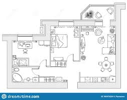 Free Floor Planning Outline Vector Of Simple Furniture Plan Floor Plan Symbol