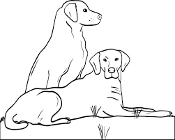 Printable Coloring Page For Kids Of Two Big Dogs