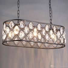 großhandel moderne vintage industrial design e27 schwarz eisen k9 kristall oval led pendelleuchten leuchten für loft esszimmer schlafzimmer wohnzimmer