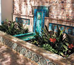 Accessories Captivating Home Exterior And Garden Decoration Using Blue Tile Wall Fountain Along With