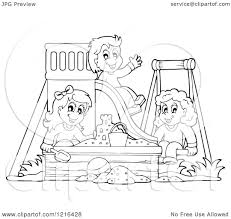 Clipart Of Outlined Happy Children Playing On A Swing Slide And In Sandbox