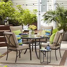Ty Pennington Patio Furniture Parkside by Garden Oasis Harrison 5 Piece Cushion Dining Set Tan Shop Your