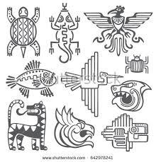 Historic Aztec Inca Symbols Mayan Temple Pattern Native American Culture Signs Tattoo