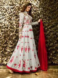 Light Grey Designer Wear Lehenga Style Anarkali Frock With Floral Embroidery J16312