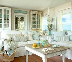 Shabby chic white & pastel living room in a beach cottage Take