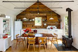 Tiny House Kitchen With Traditional Dining Room Chairs Farmhouse And Woodstove