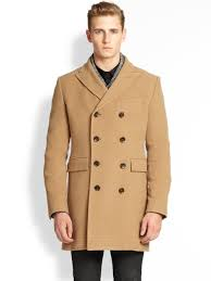 j lindeberg wolger double breasted wool blend coat in natural for