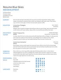 Select Template A Sample Of Blue Skies Resume