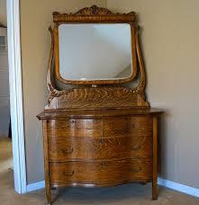 Tiger Oak Dresser Beveled Mirror by Vintage Statesville Furniture Company Serpentine Chest And Mirror