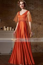 coniefox orange v neck beading backless party dress 82180 coniefox