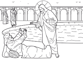 Bible Lessons Jesus Heals Paralyzed Coloring Page Pool Clipart Pencil And In Color