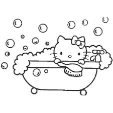 Hello Kitty Enjoys A Bubble Bath Helps In Shopping Printable Coloring Pages