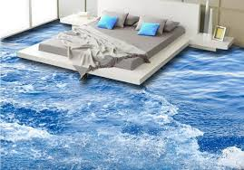 Vinyl Flooring Adhesives Custom 3d Mural Pvc Surface Waves Waterproof Wall Paper Bedroom