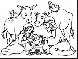 Surprising Christmas Nativity Scene Coloring Page With And Pages Bible