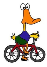 Funny Duck Riding Bicycle Cartoon On T Shirt