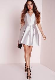 missguided satin pleated skater dress silver in metallic lyst