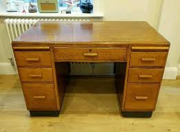 1940s oak desk vintage office partners desk pedestal desk