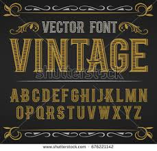 Vector Vintage Label Font Retro