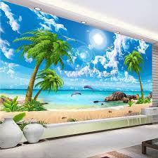 benutzerdefinierte tapete 3d schöne palm strand am meer landschaft foto tapeten wohnzimmer tv sofa schlafzimmer hintergrund wand 3d wandmalereien