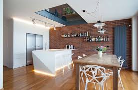 Kitchen Brick Wall Tiles With Dark Wood Floating Shelves And Using Rustic Oak Dining Table 6 Chairs