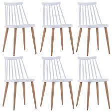 vidaxl esszimmerstühle 6 stk weiß kunststoff gitoparts