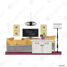 stock vector innenarchitektur illustration modernes gelbes wohnzimmer trendigen stil haus dekoration möbel lounge sofa kissen kissen tisch