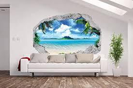 am wohnideen vlies fototapete poster 3d wandillusion loch in der wand meer strand palmen