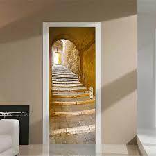 3d simulation retro treppe tür selbstklebend wohnzimmer tür