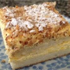 Burnt Almond Cake with almond pastry cream filling garnished