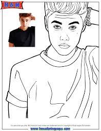 Singer Justin Bieber Looking Confused Coloring Page