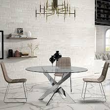 ambiato esstisch ruth 140cm rund chrom gestell glasplatte glastisch konferenztisch runder tisch küchentisch