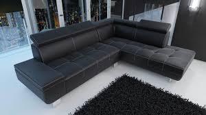 canap d angle cuir noir canapé d angle moderne et pas cher canapé en cuir ou en tissu