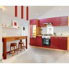 respekta küchenzeile kb270bre 270 cm rot buche nachbildung