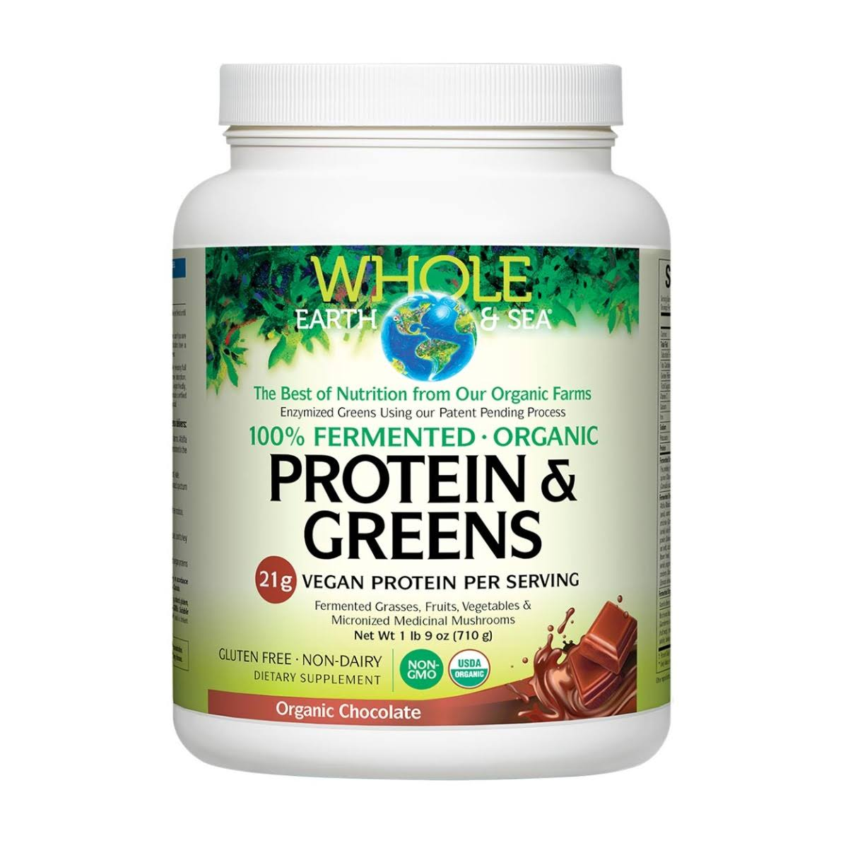 Whole Earth & Sea Fermented Organic Protein & Greens - Chocolate 25oz