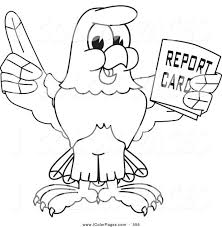 Free American Eagle Coloring Page Vector Bald Hawk Falcon Holding Report Card Pages Preschool Print