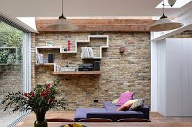 Floating Shelves On Brick Wall Modern And Wooden Shelf In The Living Room With White