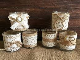 6 Rustic Naturlap Burlap And Lace Covered Votive Tea Candles Wedding Favor Or Table Decoration