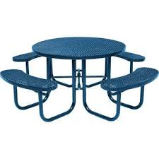 Metal Patio Furniture pare Park 46 in Blue mercial Round Picnic Table