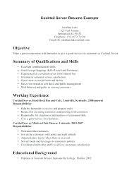 Resume Waitress Experience Cocktail Samples Download Server Examples Bartender Sample
