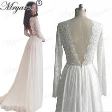Mryarce Classic Lace Long Sleeve Open Back Wedding Dresses V Neck Chiffon A Line Rustic