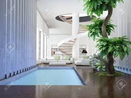 100 Modern Interior Modern Interior 3D Render Living Room With Internal Garden