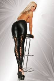 legging latex pants elastic stretchy faux leather open crotch