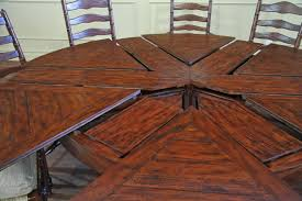 Round Expandable Rustic Dining Table With Hidden Leaves