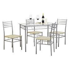 Buy Svitlife Kitchen Dining Table Set,Glass Table And 4 Chairs(Black ... Home Source Donna Silver Metal Ding Table Grey Na Fniture Nice Chair Room Qarmazi White And Gray Set Of Eight Vintage Rams Head Angloindian Embossed Chairs Ausgezeichnet Industrial Wood Design Hefner Silver 5 Piece Ding Set 100 To Complete Flash 315 X 63 Rectangular Inoutdoor With 4 Stack Polk In Brushed Rustic Pine Seat 3pcs Black Metal Details About 2pcs Distressed 11922 Indian Hub Cosmo Silver Ding Table Chairs Thepizzaringcom