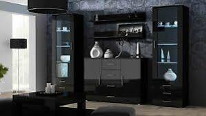 Anbauwand Wohnzimmer Mã Bel Details Zu Wohnwand Soho 3 Anbauwand Wohnzimmer Möbel Schwarz Schwarz Hochglanz