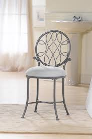 Acrylic Vanity Chair With Wheels by Grey Iron Bathroom Vanity Stool With Round Back And Fabric Seat
