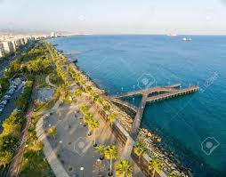100 Molos Aerial View Of Promenade On The Coast Of Limassol City Stock