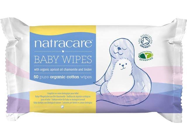 Natracare Baby Wipes with Organic Chamomile, Apricot and Sweet Almond Oil - 50 Baby Wipes