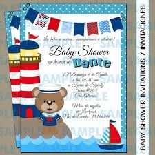 Invitación Baby Showerinvitación Oso Marinerobaby Shower